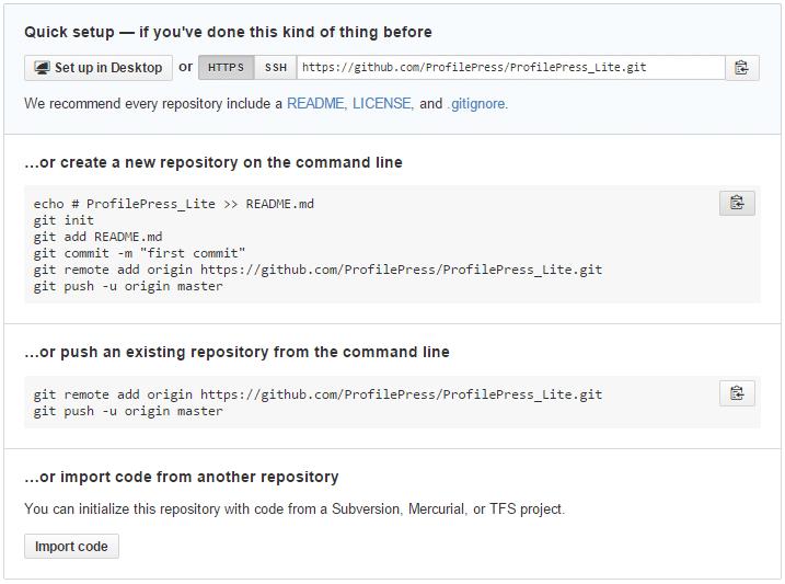 GitHub quick setup page