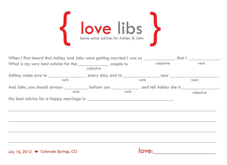 Mad Libs Guest Book Idea