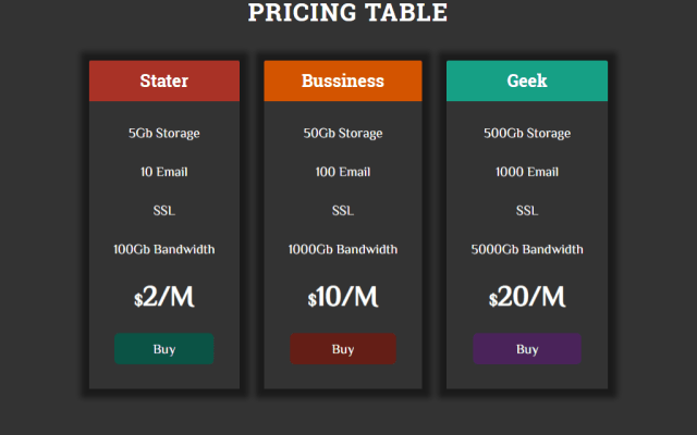 Pricing Table Using Css Flex