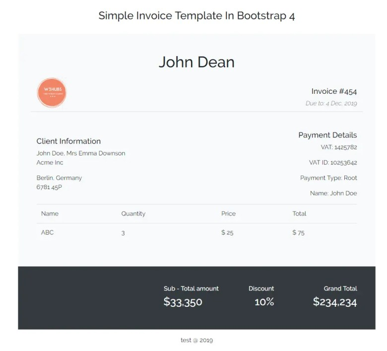 Simple Invoice Template In Bootstrap 4 W3hubs Com