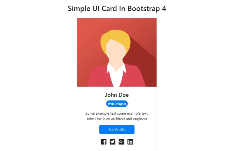Simple UI Card In Bootstrap 4 | W3hubs com