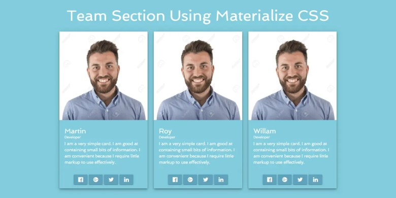 Team Section Using Materialize CSS
