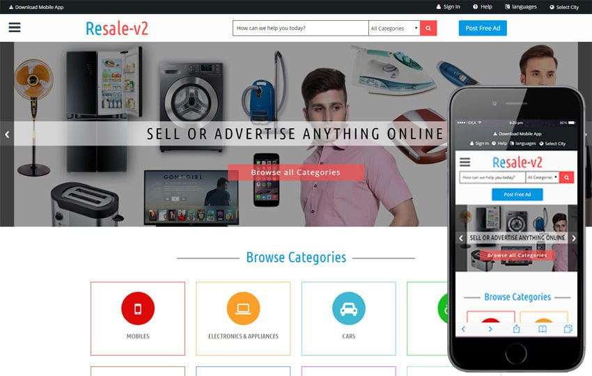 Classifieds And Advertising Portal Html5 Responsive Web Templates
