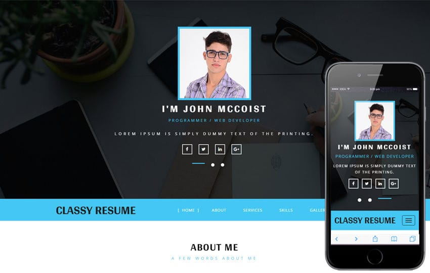 css personal resume website templates