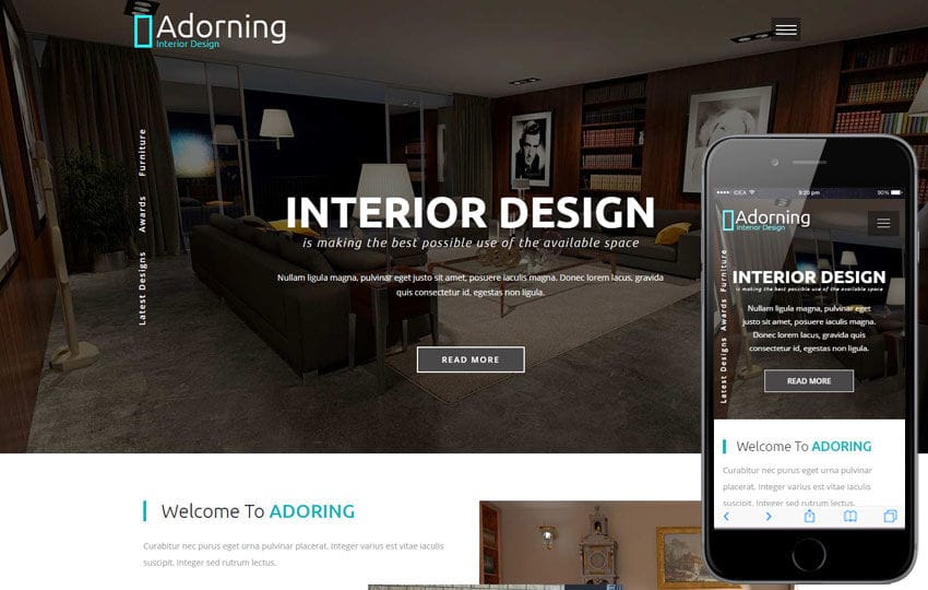 Adorning An Interior And Furniture Category Bootstrap Responsive Web