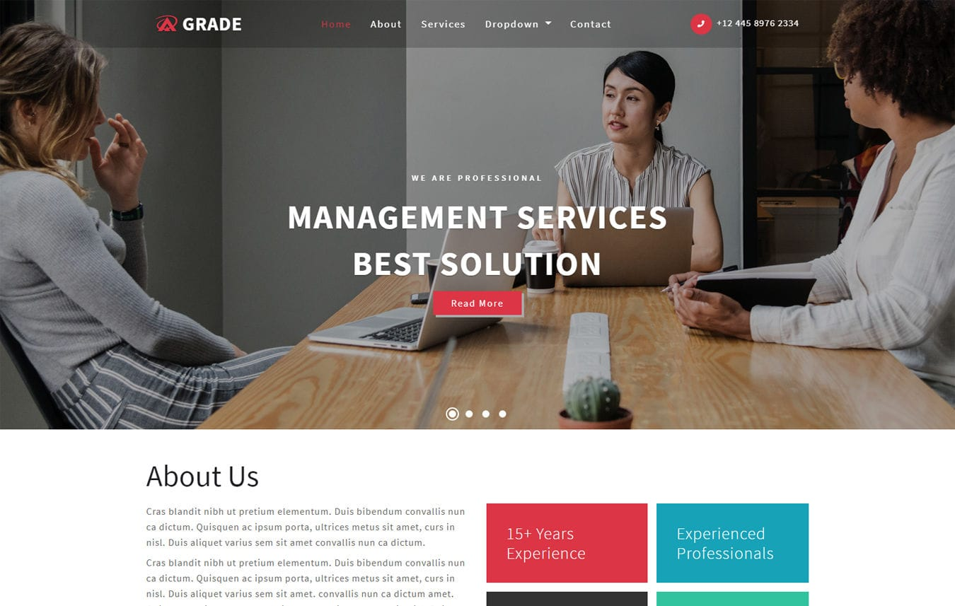 Grade Corporate Category Bootstrap Responsive Web Template. Mobile Website  Template Free
