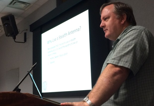 "Marty, AG3EK, presents ""Stealth Antennas"" during CARC's July 11 meeting."