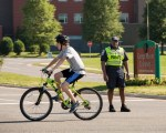 Bikes on University Blvd with George Mason Officer Calvin Chandler