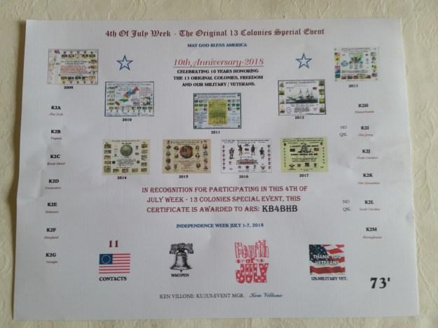 13 Colonies Certificate for KB4BHB