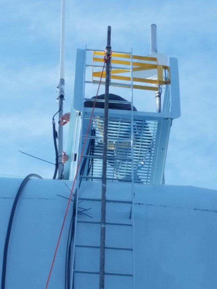 Byron prepares to climb tower