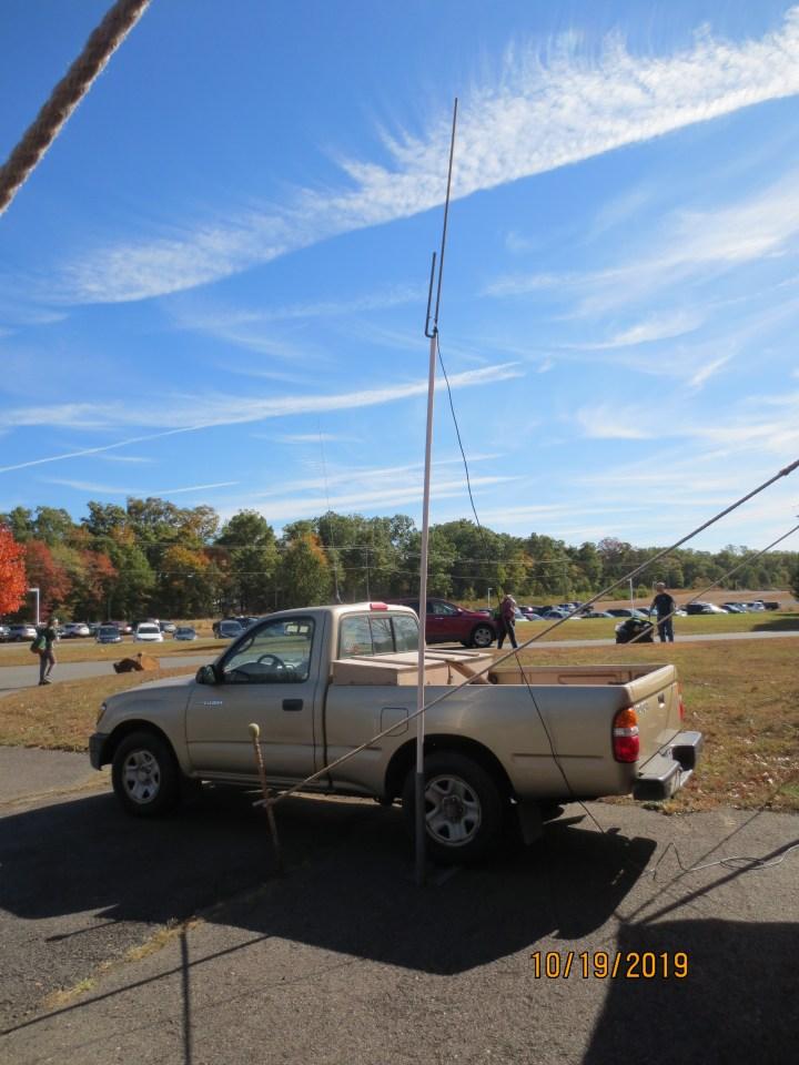 2 meter J-pole on mast mounted on Al, KB4BHB'S truck