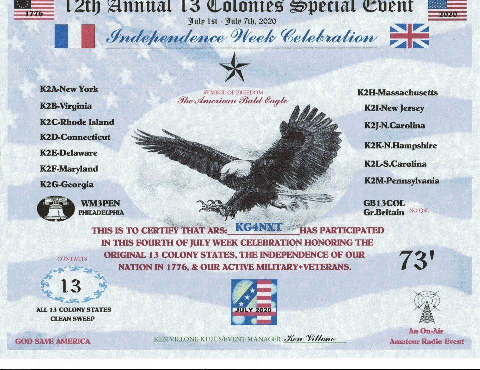 13 Colonies 2020 certificate