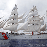 USCGC Eagle (WIX-327), formerly the Horst Wessel and also known as the Barque Eagle, is a 295-foot barque used as a training cutter for future officers of the United States Coast Guard. - Wikipedia