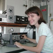 VP-2020-08-An amateur radio operator, Yvette Cendes, KB3HTS, at station W8EDU, 2005-Wikipedia