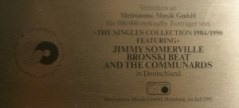 Jimmy Somerville Platin Award The Singles Collection