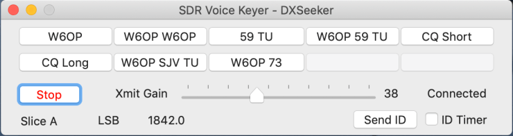 SDR Voice Keyer GUI for Flex 6xxx series radios