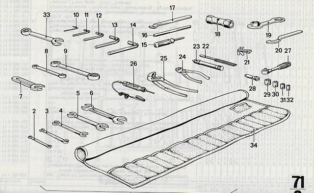 Tool kits for BMW motorcycles, roll, tools, original