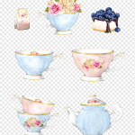 Pink And Blue Ceramic Tea Cups Collage Tea Watercolor Painting Illustration Cup Vase Cake Saucer Png Pngwing