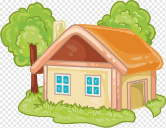 Orange and green house and trees House Cartoon Log cabin Cartoon house cartoon Character cartoons cartoon Eyes png PNGWing