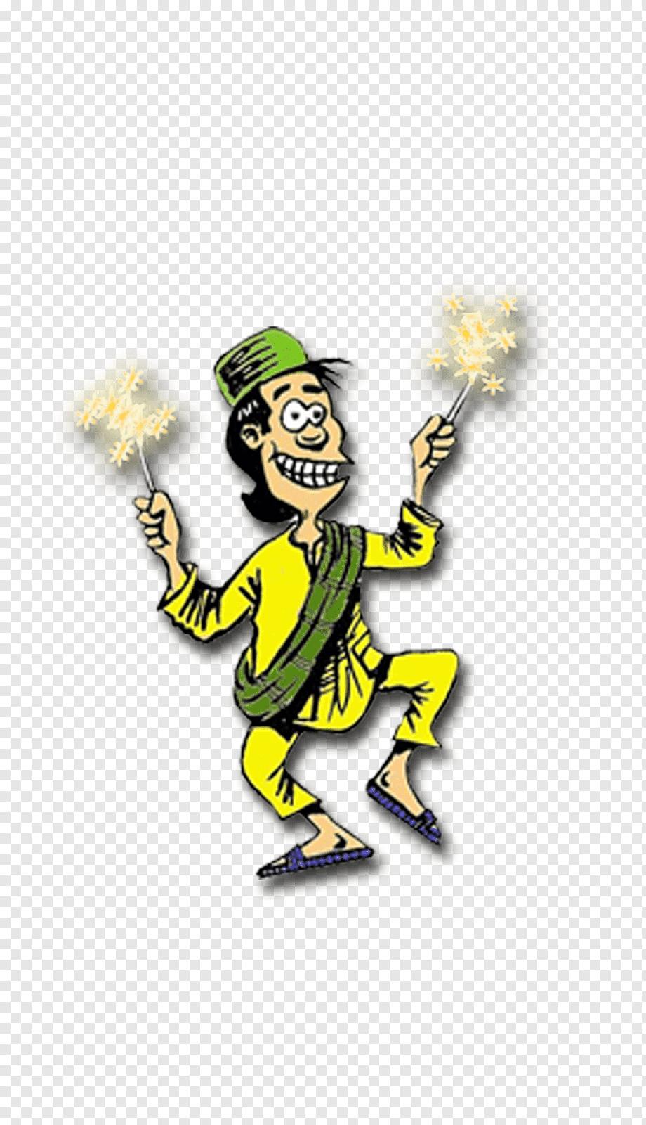 Pria Bermain Dengan Ilustrasi Sprinkler Animasi Kartun Ketupat