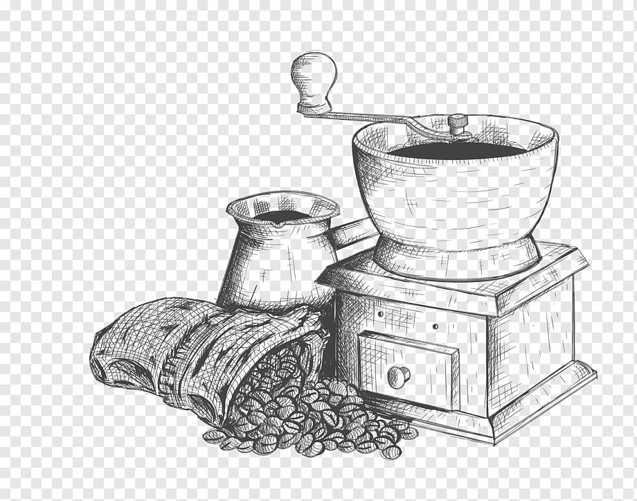 Gray manual grinder, Coffee Cafe Caffxe8 mocha Drink