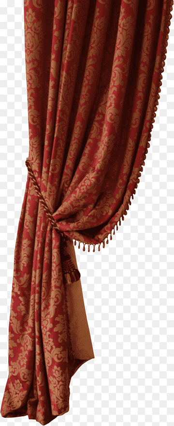 red curtain curtain one side of the