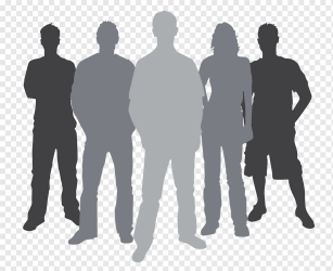 Five silhouette of people Silhouette High Resolution Youth public Relations team human png PNGWing