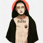 Man Wearing Black Robe With Body Tattoo Painting Lil Peep Tattoo Crybaby Art Lil Peep Painting 2017 Sleeve Png Pngwing