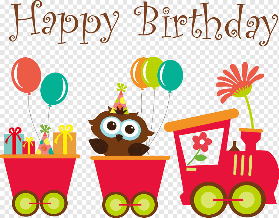 Bird Riding Red Train With Happy Birthday Text Overlay Wedding Invitation Greeting Card Birthday Baby Shower Owls And Carts Child Food Animals Png Pngwing