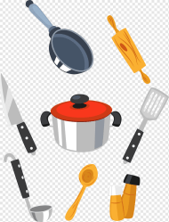 Cooking tools Kitchen Cartoon Kitchen food cooking material png PNGWing