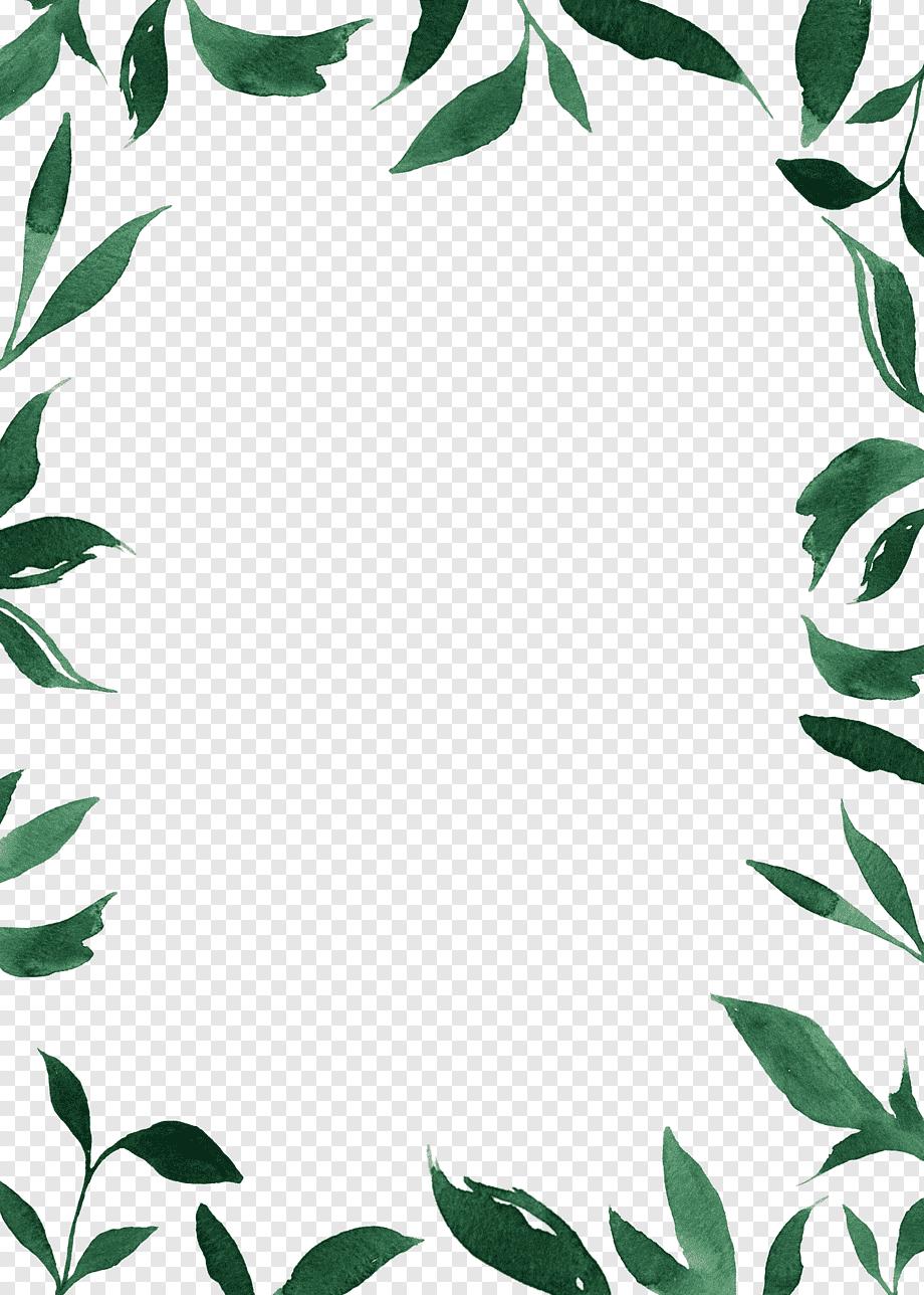 Elegant Geometric Floral Frame With Blue Leaves For