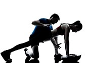 28812916-personal-trainer-man-coach-and-woman-exercising-abdominals-push-ups-on-bosu-silhouette-studio-isolat