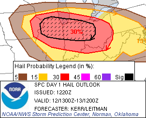 Hail probabilities map from 9 a.m. EDT convective outlook