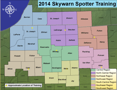 NWS map of training regions