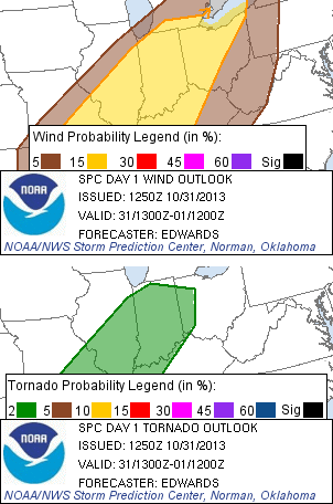 Wind and tornado probability maps from 9 a.m. EDT convective outlook