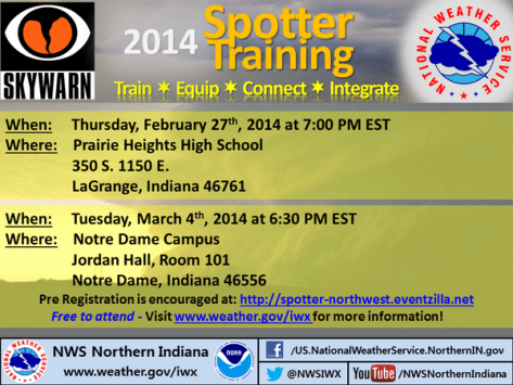 NWS infographic on upcoming storm spotter training sessions