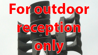 "Photo of outdoor warning siren with superimposed text ""For outdoor reception only"""