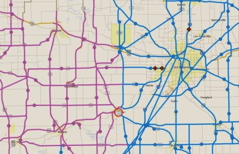 INDOT road conditions map