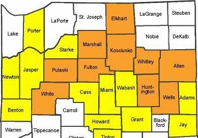 County travel status map