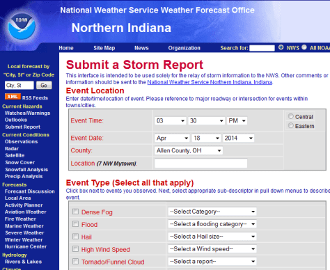 Screen shot of report form