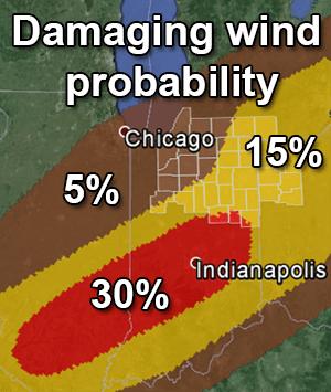 1300Z Day 1 wind probability map