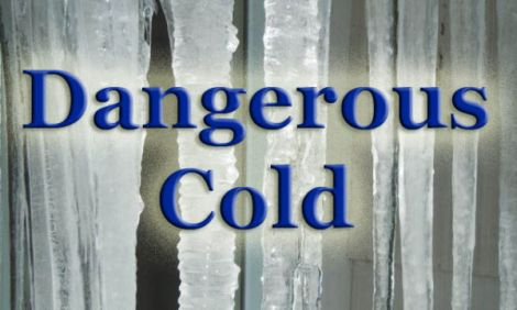 "Photo of icicles with words ""dangerous cold"" superimposed"