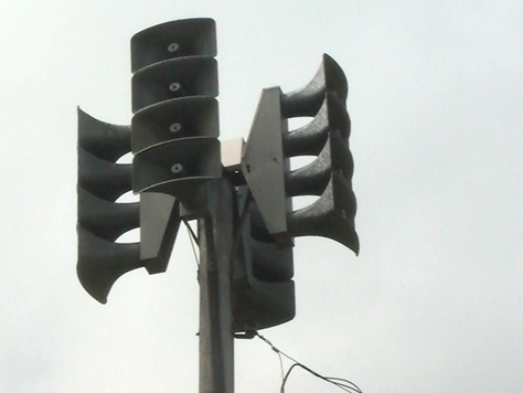 Tornado siren. Outdoor warning sirens are not intended to be heard indoors.