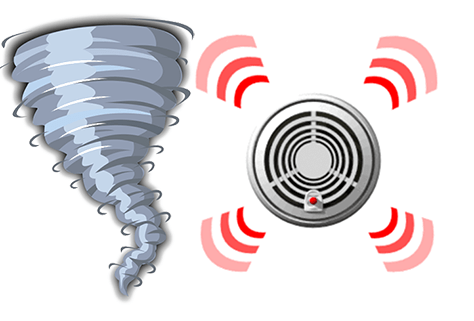 Clip art of a tornado and smoke detector