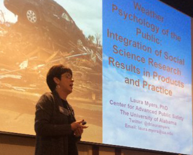 Dr. Laura Myers presents on weather psychology at the 2016 Central Indiana Severe Weather Symposium. Photo by NWS Indianapolis