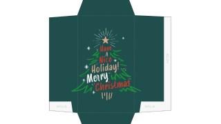 筆記体のロゴがおしゃれなクリスマスツリーのポチ袋