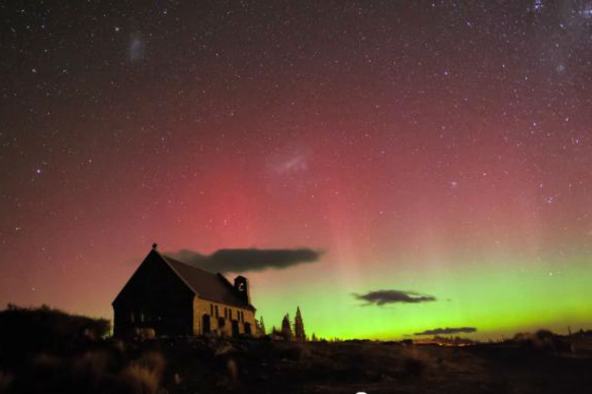 Image of the aurora taken from a video uploaded to YouTube by FraserTK