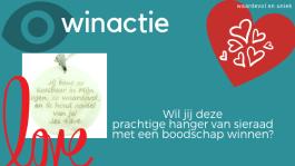 winactie: hanger van sieraad met een boodschap