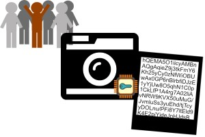A collage including people icons in the upper right, a camera icon with a compute chip and key icon included, and an old-style photograph with the image replaced by random text representing an encrypted photo.