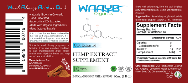 WAAYB Organics Cinnamon 600mg Hemp Extract Oil
